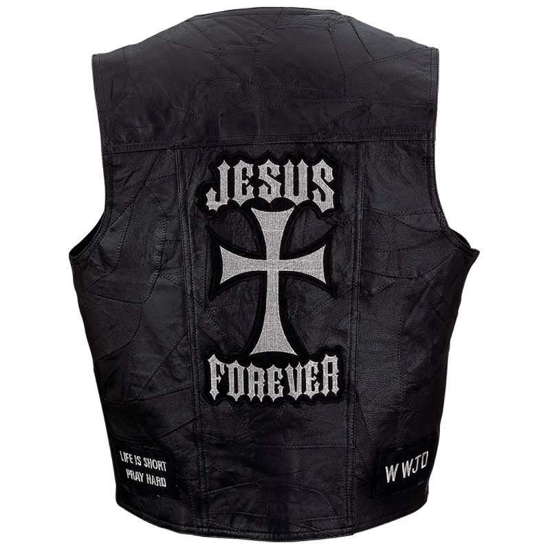 Mens Black Leather Christian Cross Motorcycle Vest Religious Jesus Forever