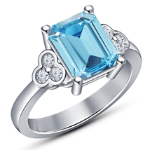 Women's Aquamarine Wedding Engagement Ring 10K White Gold Plated 925 Sil... - $75.98