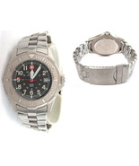 VINTAGE SWISS MILITARY BLACK DIAL STAINLESS STEEL WATCH MEN WITH DATE - $56.25