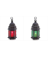 Glass Moroccan Lantern Pair Red and Green Stop... - $11.80