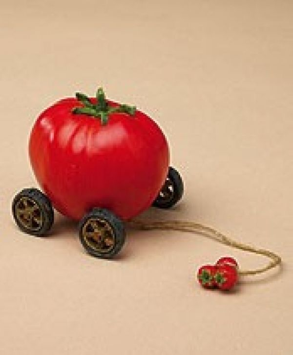 """Boyds Pull Toy -""""You Say Tomato"""" 3"""" Tomato Tug Along  #654100 - Retired"""