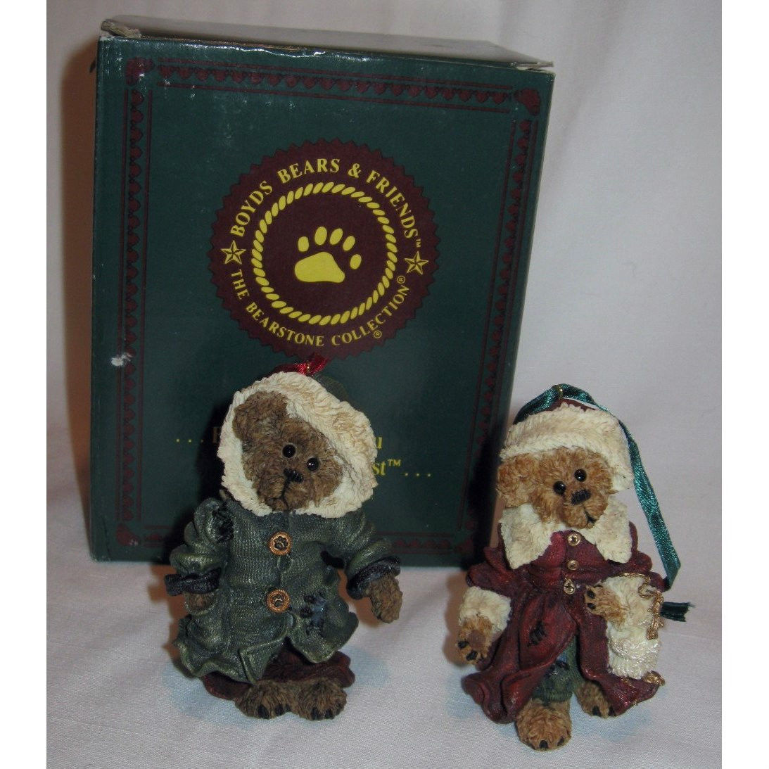 "Boyds Bear""Matthew & Bailey"" Bearstone-Ornament Setof 2*#922RSN*1998*New*Retired image 1"