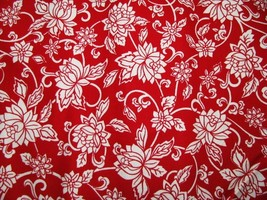 David Textiles White on Red Cotton Fabric 1 Yd 44W  - $6.95