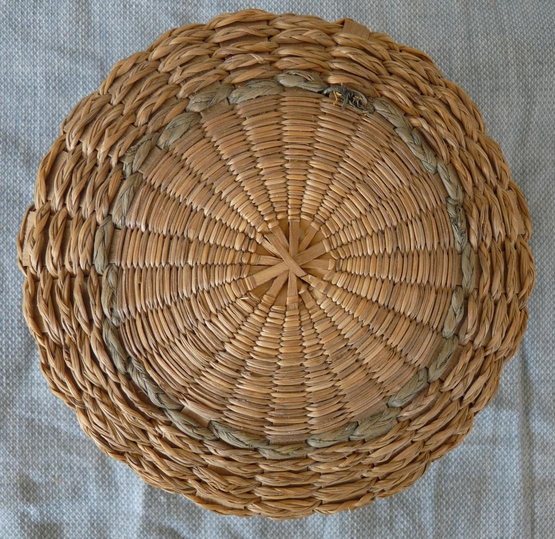 Native American sweetgrass splint basket covered New England vintage antique