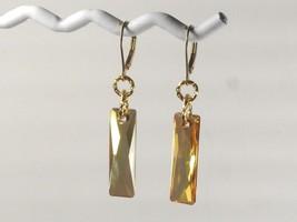 Swarovski Crystal Dangle Earrings /Gold / w/ Swarovski Elements/14k Gold... - $27.95+