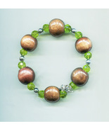 brown chunky wood glass bead bracelet green handmade gypsy bohemian jewe... - $5.99
