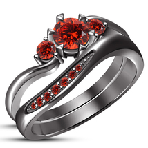 Black Rhodium Finish 925 Silver Red Garnet Three Stone Wedding Ring Brid... - $97.86
