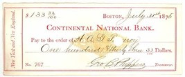 1875 Continental National Bank check Boston MA Phippens ephemera - $6.50
