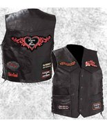 Black Leather Ladies Womens Motorcycle Biker Vest Lady Rider with Patche... - $23.99