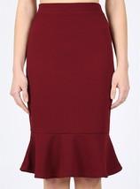Burgundy Peplum Skirt, Fitted Ruffle Skirt, Peplum Midi Skirt, Womens, Burgundy