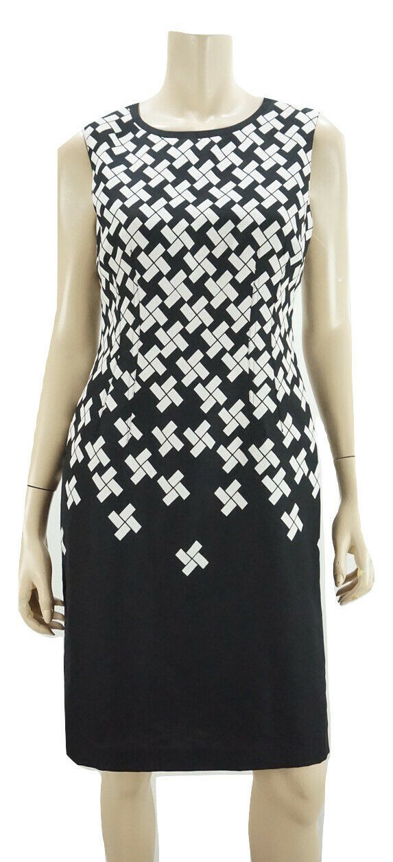 Primary image for ANNE KLEIN Black/White Printed Sleeveless Knee Length Sheath Dress NWOT 6