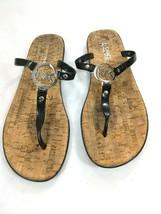 Michael Kors Navy Black Jelly Thong Sandals Cork Footbed MK Logo Size 9.5 - $23.33