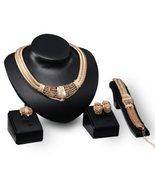 Fashion Jewelry Set: Necklace Bracelet Earring and Ring Gold Plated - Pr... - $27.23