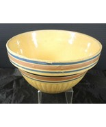 Antique Yellow Ware Ribbed Mixing Bowl * Pink & Blue Bands  #2 - $14.96