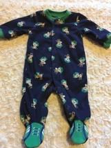Child Of Mine Boys Navy Blue Green Monkeys Football Fleece Long Pajamas NEWBORN - $4.50