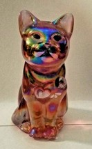 FENTON CARNIVAL GLASS HANDPAINTED PINK CAT - $34.65