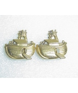 Noah's Ark Clip Earrings Vintage AJC Gold - $7.00