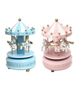 Merry-Go-Round Wooden Music Box Toy Child Baby Game Home Decor Carousel ... - £8.82 GBP