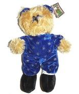 Tan Teddy Bear Blue Snowflake Suit Plush Lovey 15 inch Stuffed Animal - $24.72