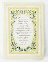Hallmark plaque floral cross stitch picture wood vintage home wall decor 1982 - $7.92