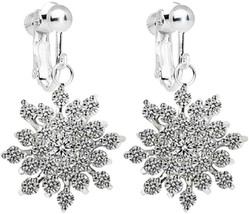 Women Fashion Jewelry Ear Clip on Earrings White Gold Plated Snowflakes AAA - $48.01