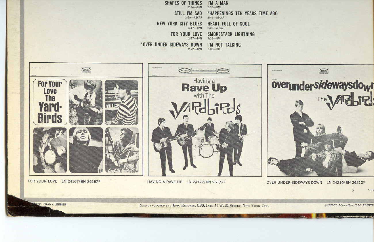 Yardbirds Greatest Hits Stereo Vinyl LP Record BN26246 With Free CD