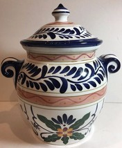"""Hand Painted """"TALAVERA"""" Cookie Jar w/ Lid (Tabletops Unlimited) Mexican ... - $39.59"""