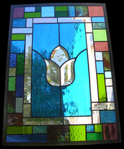 Stained Glass Window Turquoise Treasure Panel - $197.00