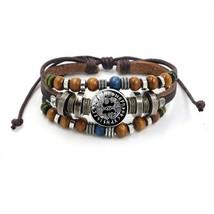 Vintage Viking Beads Multilayer Leather Rope Bracelet Glass Dome Snap Bu... - $7.88