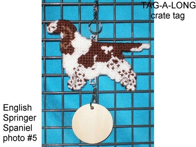 English Springer Spaniel crate tag or hang anywhere, full undocked natural tail