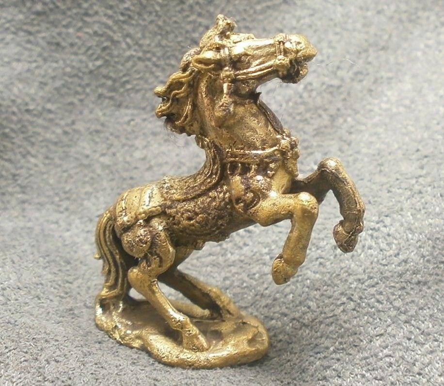 THAI MINI BRASS AMULET MAGIC WAR HORSE RICH TALISMAN THAILAND GIFT LUCKY GAMBLE image 2