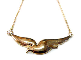 Gold Toned Soaring Bird Pendant Necklace - $18.99