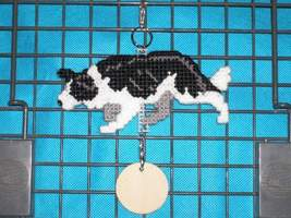 Border Collie crouching crate tag or hang anywhere Hand stitched dog nee... - $26.00