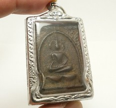 LP BOON BUDDHA IN SACRED TEMPLE THAI PEACEFUL HAPPY LUCKY SUCCESS AMULET PENDANT image 2