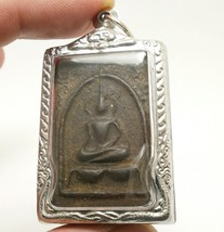 LP BOON BUDDHA IN SACRED TEMPLE THAI PEACEFUL HAPPY LUCKY SUCCESS AMULET PENDANT image 3