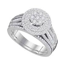 10k White Gold Diamond Cluster Bridal Wedding Engagement Ring Band Set 1.00 Ctw - $1,098.00