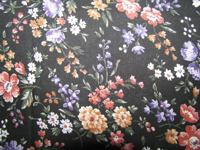 Vintage Burnt Orange Lavender Gold Flower Fabric  2 2/3 yards
