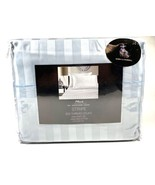 4 Piece King Sheet Set 100% Pima Cotton 500TC Light Blue Stripe - $54.44