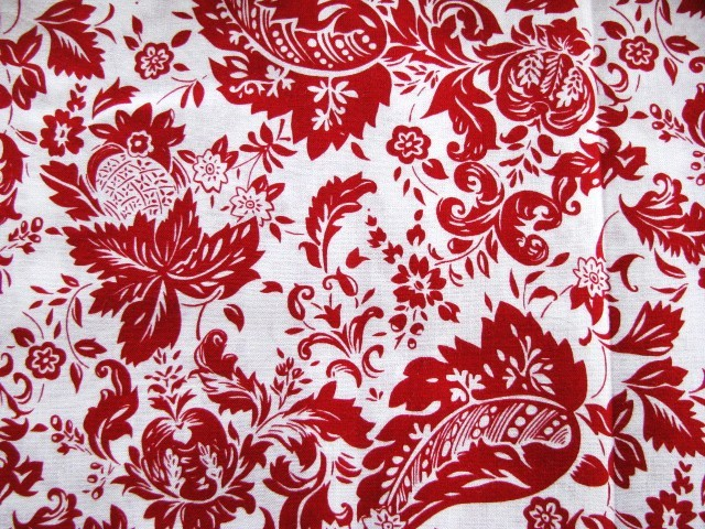 New David Textiles Red on White Cotton Fabric