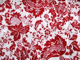 New David Textiles Red on White Cotton Fabric   .9 yd - $5.95