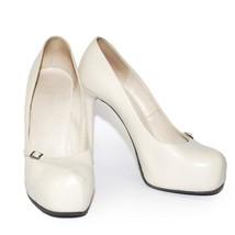 NINA RICCI White Leather High Heels Shoes Platform Pumps Stilettos Size US 8.5 - $200.71