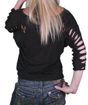 Iron Fist Women's Black Panther Pink Wild Ones Slashed 3/4 Sleeve Crop T-Shirt image 4