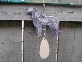 Irish Wolfhound crate tag or hang anywhere, hand stitched dog kennel acc... - $24.00
