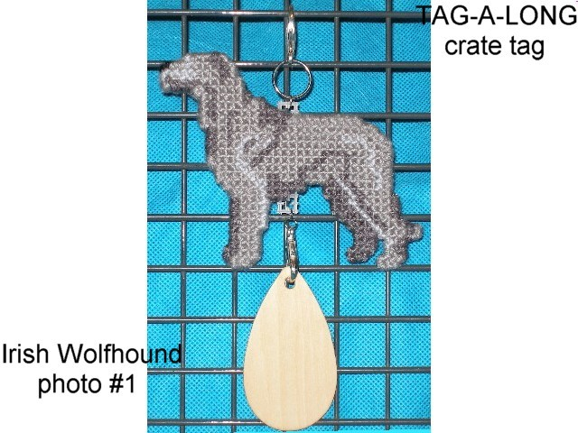 Irish Wolfhound crate tag or hang anywhere, hand stitched dog kennel accessory