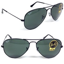 Ray Ban Sunglasses Classic Aviator RB 3025 L2823 Black w/G-15 Green 58mm - $156.75