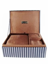 AVON Jewelry Box Case Organizer Earrings Ring Padded Removable Tray Stri... - €24,51 EUR