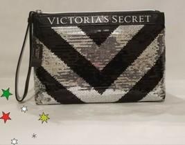 Victoria's Secret Sparkle Silver Black Sequin Glam Cosmetic Makeup Bag! NWT! - $19.17