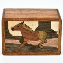 Northwoods Wooden Parquetry Country Western Running Horse Mini Trinket Box image 2
