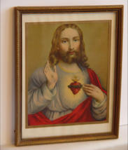 Vtg Sacred Heart Litho Framed, Under Glass ca. 1930 - $9.90