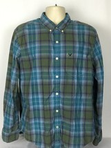 American Eagle Mens XL Athletic Fit Long Sleeve Button Down Shirt Check - $300,59 MXN